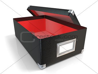 Black leather opened box, with chrome corners, red interior and