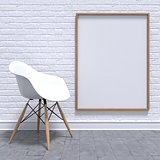 Blank white photo frame with chair. Mock-up render