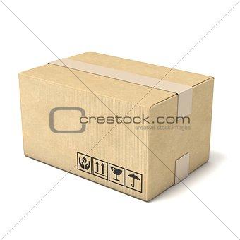 Cardboard box. Deliver concept. 3D