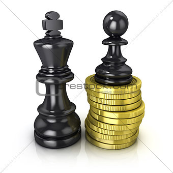 Black pawn standing on coins and black king, placed in the same