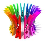 Colorful plastic clothes pegs 3D