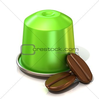 Green coffee capsule with two coffee beans. 3D