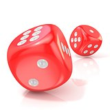 Two red game dices. 3D