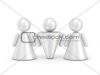 Three abstract figures. 3D