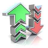 Upload download arrows icon 3D
