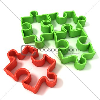 Four jigsaw puzzle outlined pieces