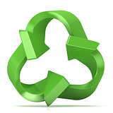 Green recycle sign, three arrows