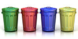 Four recycle bins for recycling paper, metal, glass and plastic