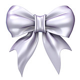 White, satin, glossy ribbon bow. 3D