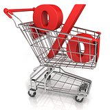 Red shopping cart with percent sign