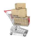 Shopping cart with boxes. 3D