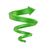 Green spiral arrow. Side view. 3D