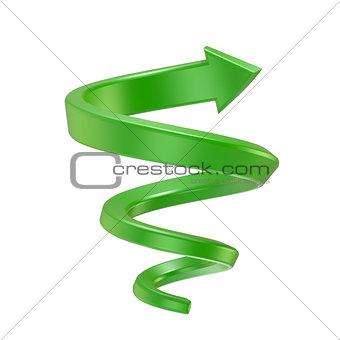 Green spiral arrow. Side view. 3D