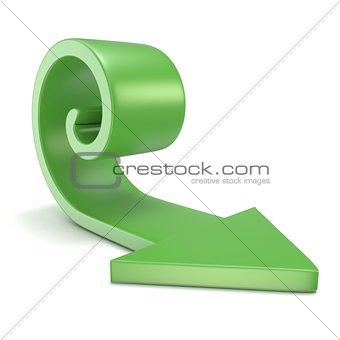 Green spiral arrow. 3D