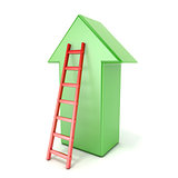 Ladder leading an green arrow. Success concept. 3D