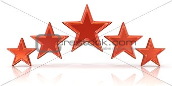3D rendering of five red stars