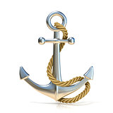 Steel anchor with rope isolated on a white background. 3D