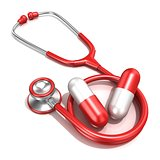 Red stethoscope with two big red pills, 3D