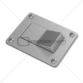 Blank, silver, power switch button. Angled view. 3D