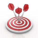 Darts hitting a target, 3D