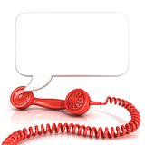 Red old fashion telephone handsets and speech bubble