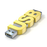 USB flash memory, made with the word USB. 3D