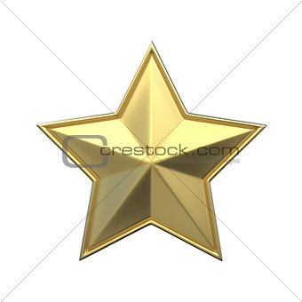 Single gold star. 3D