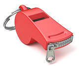 Red whistle with a closed zipper. 3D