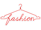 Red wire clothes hangers with message - FASHION. 3D