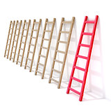 Seven wooden ladders leaning against a wall, one is red. 3D
