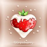 Fresh strawberry in cream on colorful background.