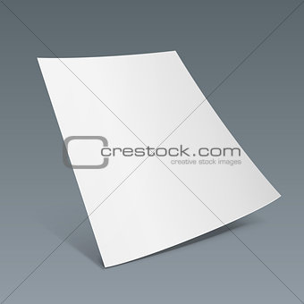 Blank Paper Leaflet, Flyer, Broadsheet, Flier, Follicle, Leaf With Shadows. On Gray Dark Background Isolated. Mock Up Template Ready For Your Design. Vector EPS10