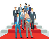 Successful business people on a red carpet