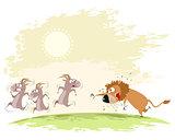 Lion catches goats