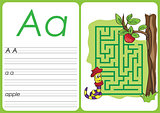 Alphabet A-Z - puzzle Worksheet - a - apple