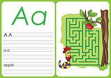 Alphabet A-Z - puzzle Worksheet - a - apple
