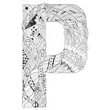 Letter P for coloring. Vector decorative zentangle object