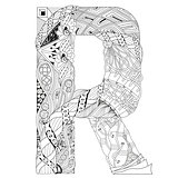 Letter R for coloring. Vector decorative zentangle object
