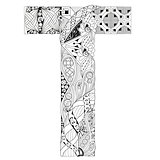 Letter T for coloring. Vector decorative zentangle object