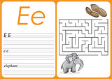 Alphabet A-Z - puzzle Worksheet - Cute Elephant and Peanuts