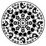 Finnish inspired round folk art pattern - black design Scandinavian, Nordic style