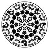 Finnish inspired round folk art pattern - black design Scandinavian, Nordic style