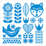 Finnish inspired folk art pattern - blue design, Scandinavian, Nordic style