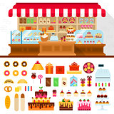 Bakery with confectionery on the shelves