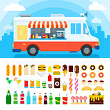 Food truck with snacks and confectionery