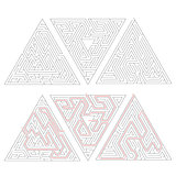 Three complicated triangle labyrinths with red path of solution isolated on white.