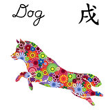 Jumping Dog with color flowers over white