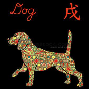 Alert Beagle Dog with color flowers over black