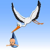 Cartoon Cute stork carrying baby