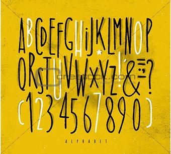 Alphabet straight lines font yellow